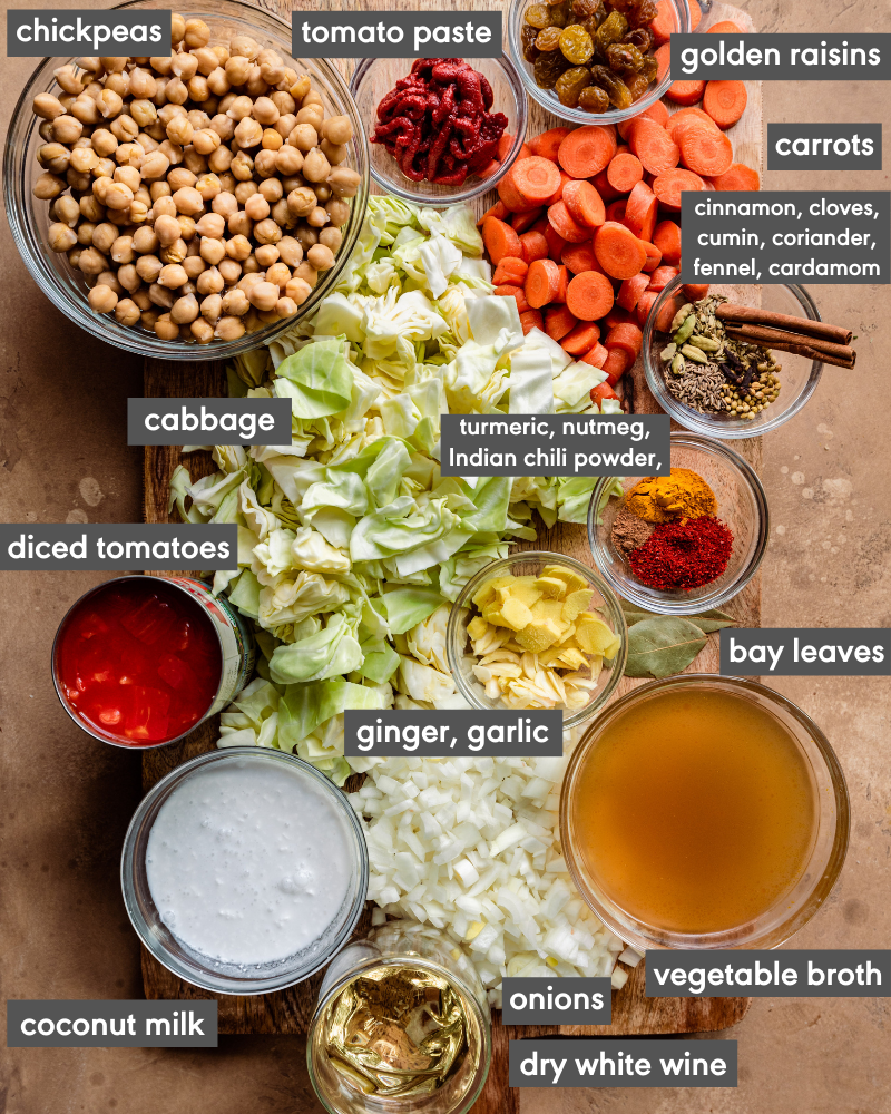 ingredient flatlay of chickpea cabbage stew with text