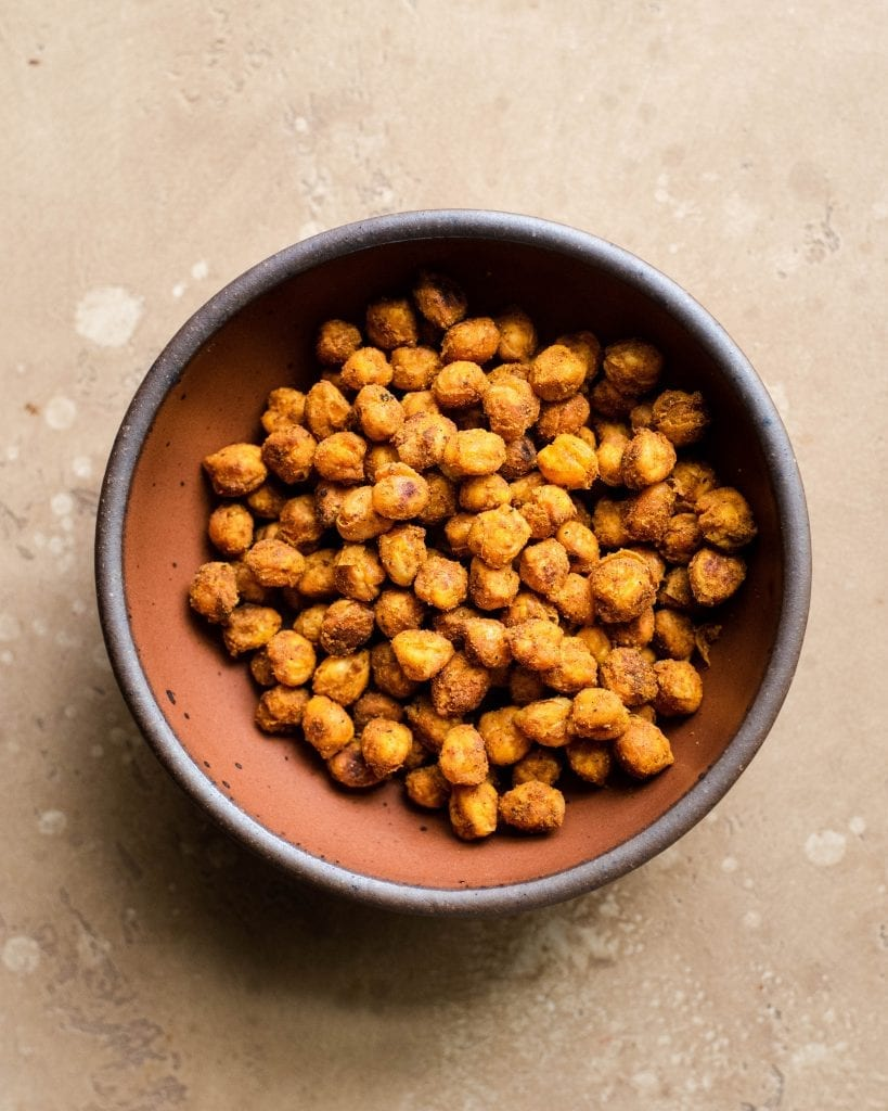 bowl of spice roasted chickpeas