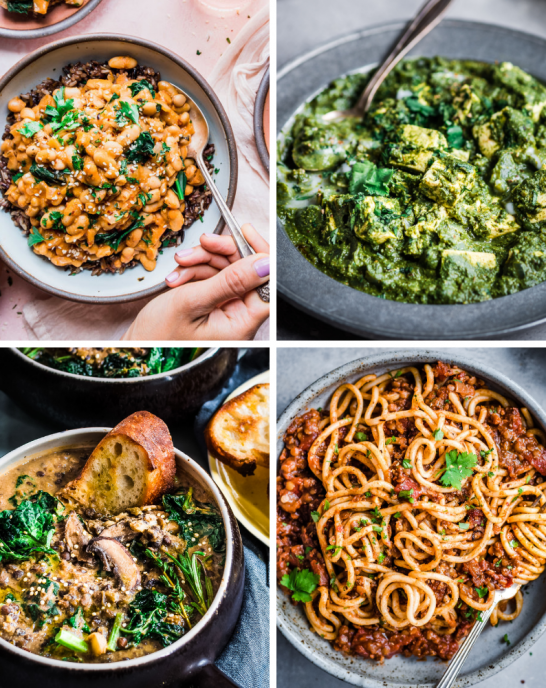 healthy vegan dinner recipes - grid of 4 photos