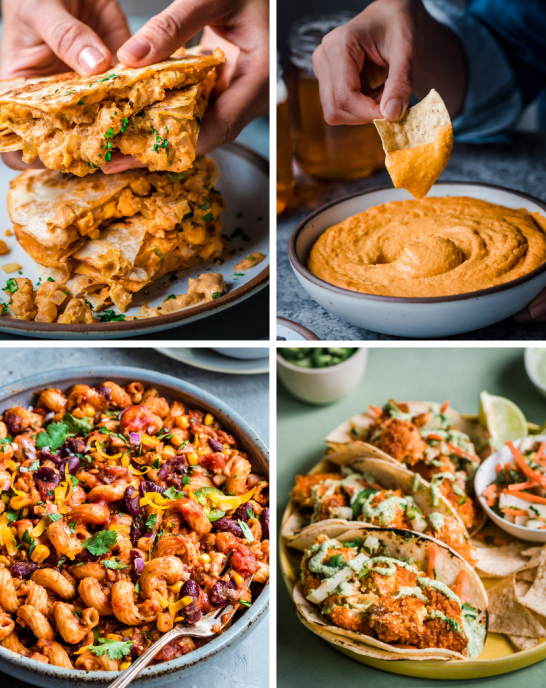 4 photo grid of vegan super bowl recipes