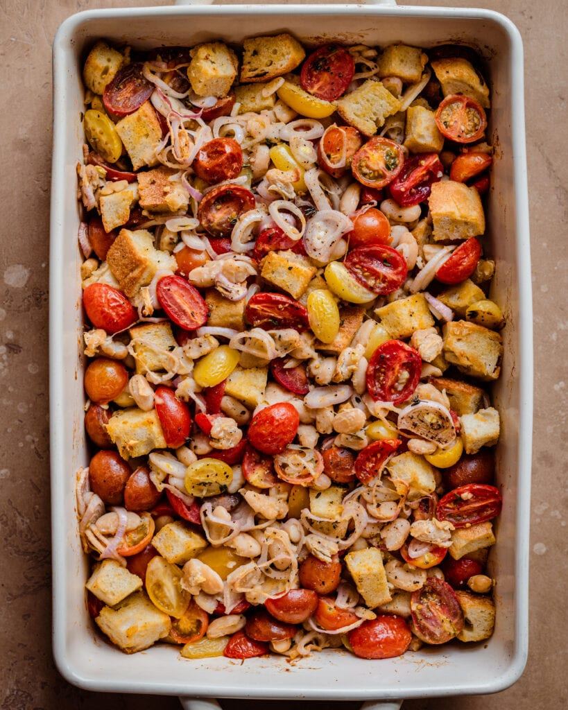 baked tomato, bread, and white bean casserole in baking pan