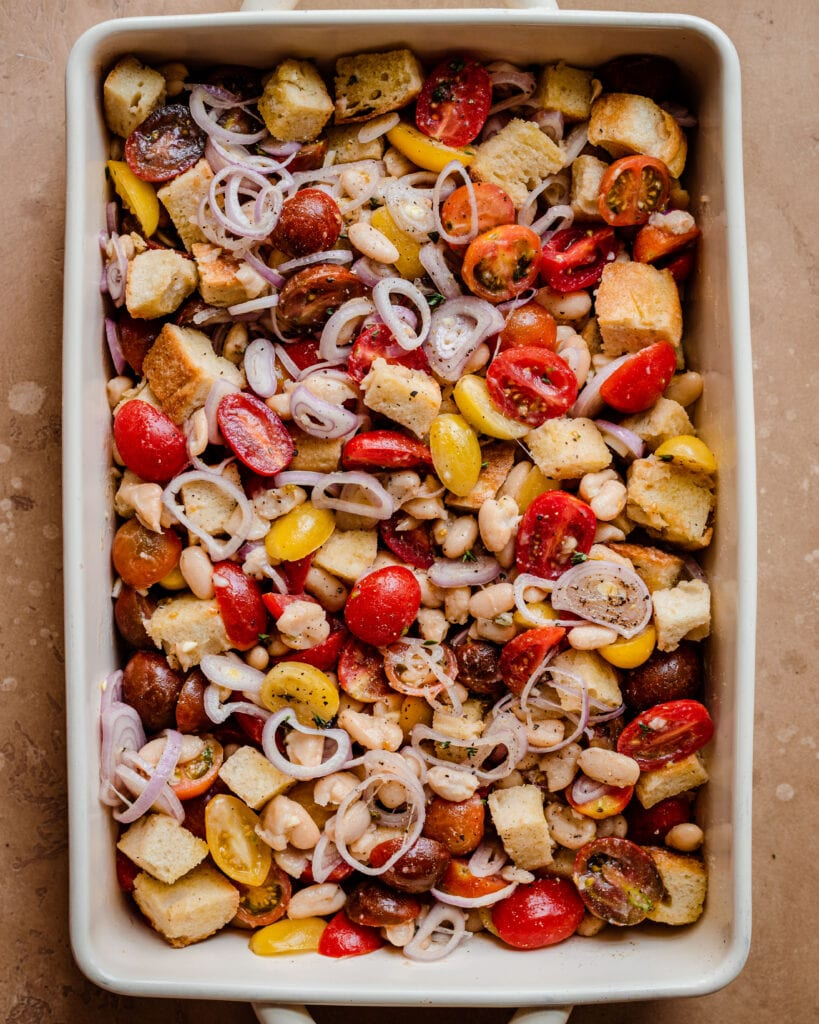 bread tomato salad in baking pan