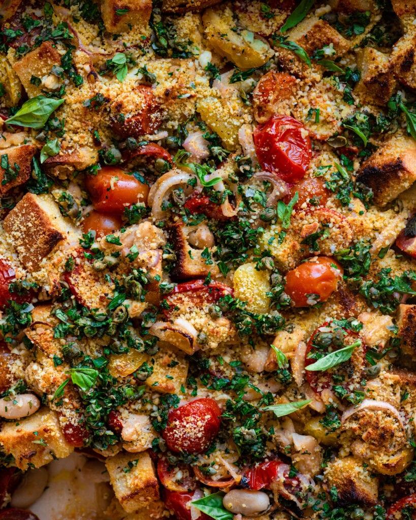 flatlay closeup of tomato and white bean casserole