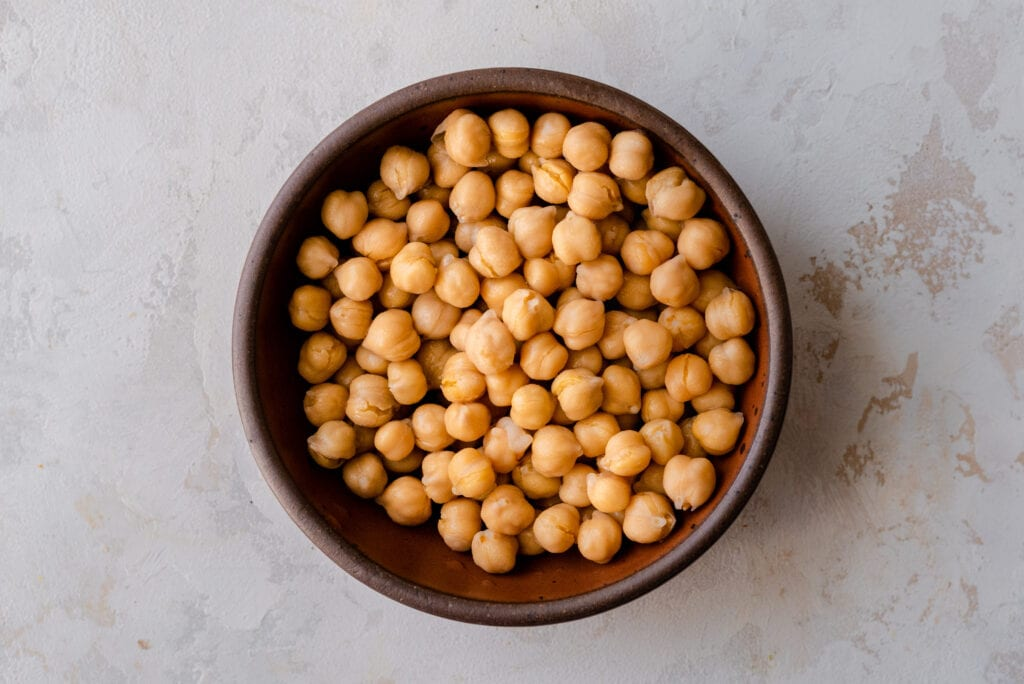 canned chickpeas in bowl