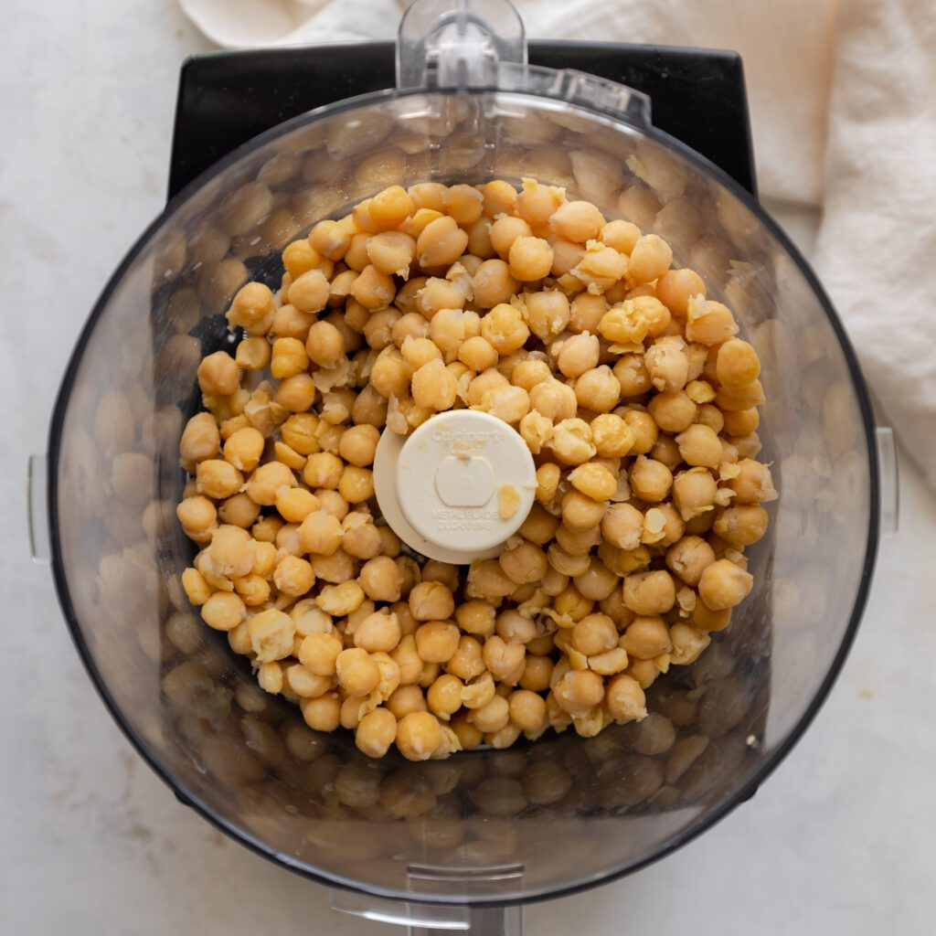 chickpeas in food processor