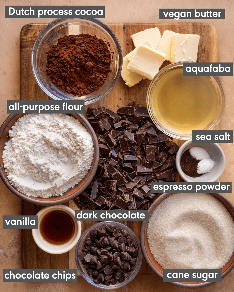 brownie ingredients on cutting board with text of each ingredient