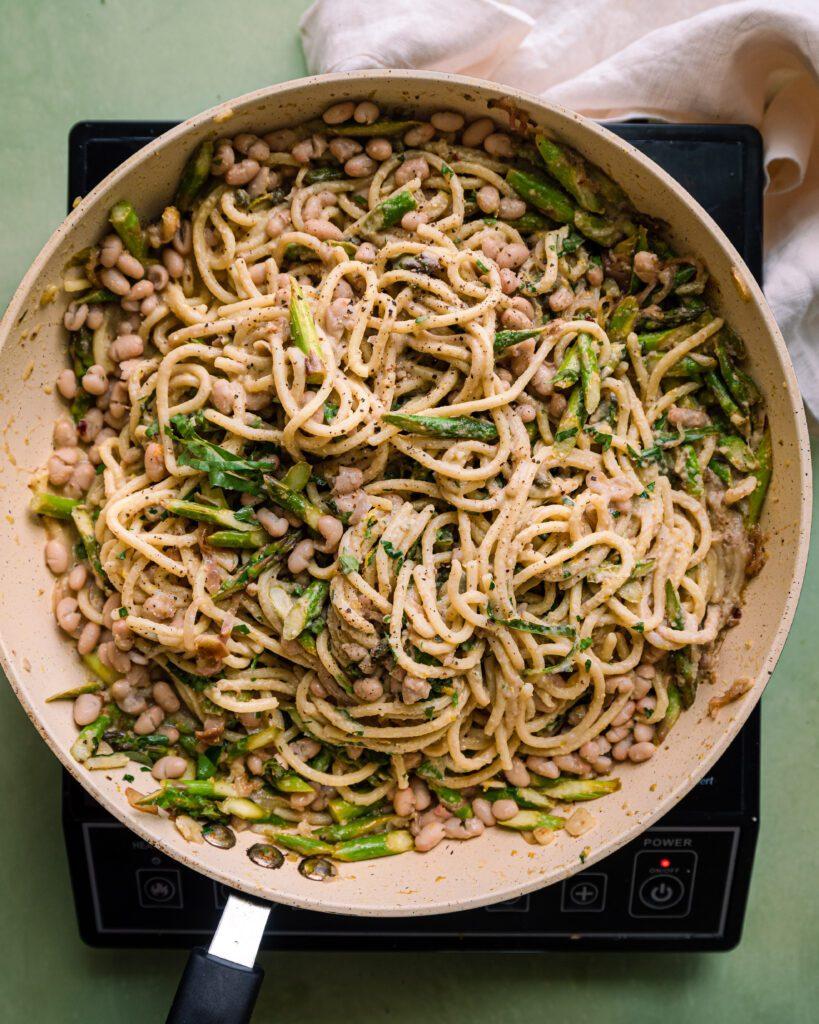 lemon asparagus pasta in saute pan