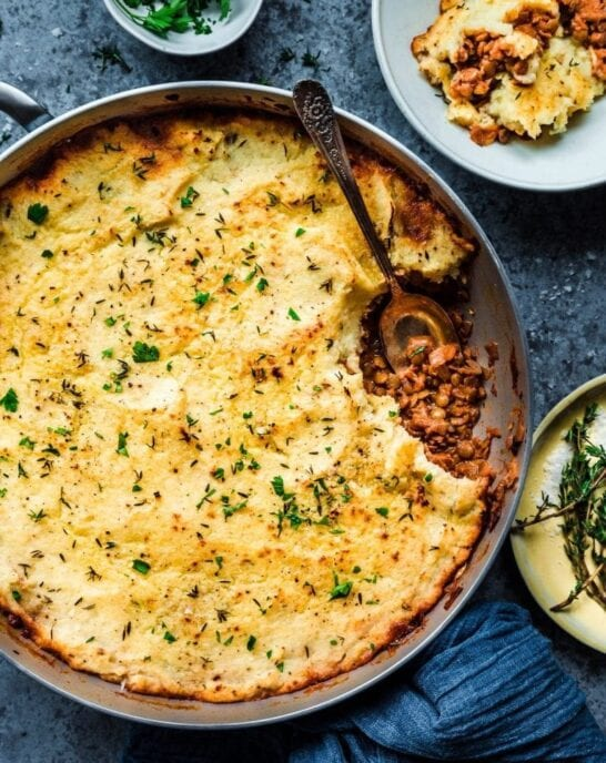 overhead shot of vegan lentil shepherd's pie