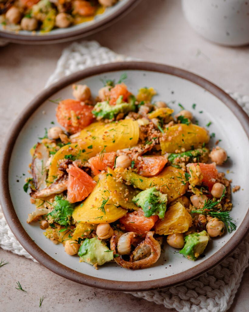 golden beet and fennel salad with avocados and oranges