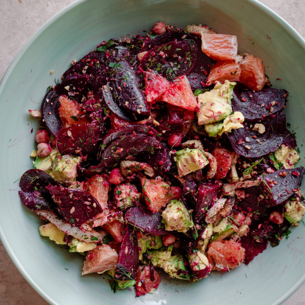 roasted beet and fennel salad with avocado and oranges