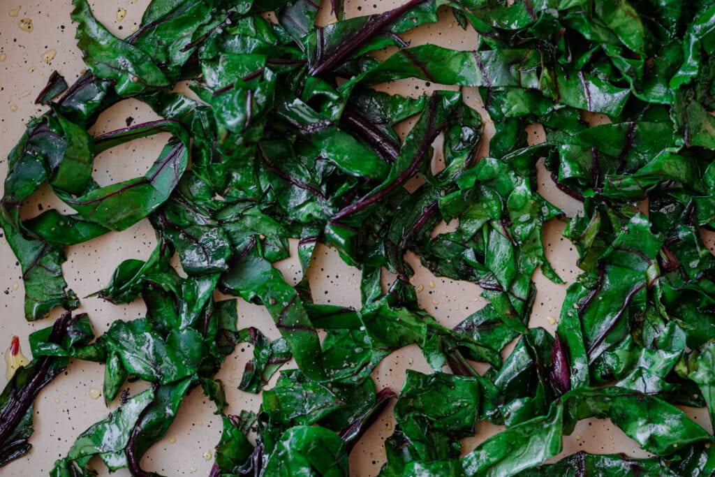 sauteed beet greens in saute pan