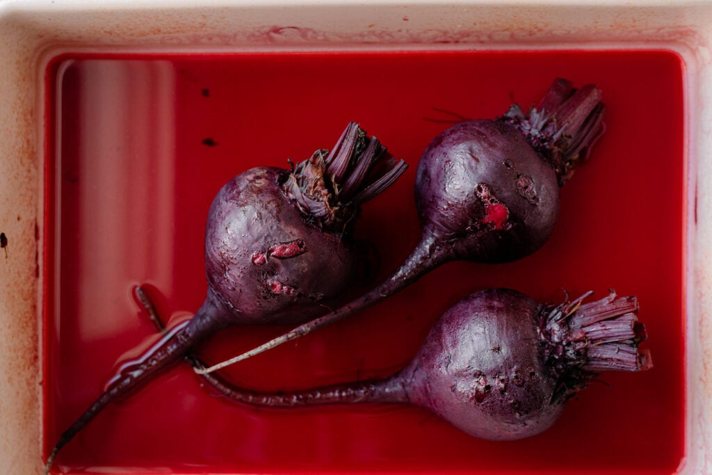 roasted beets in baking dish
