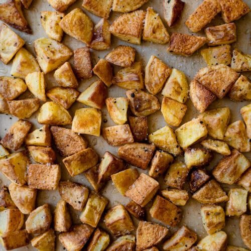 crispy roasted potatoes on sheet pan