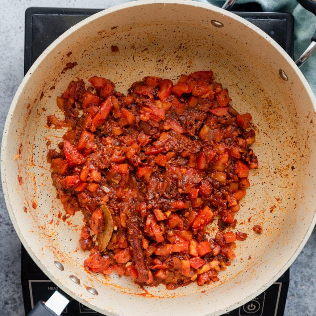 Indian masala in a frying pan for vegan dal makhani