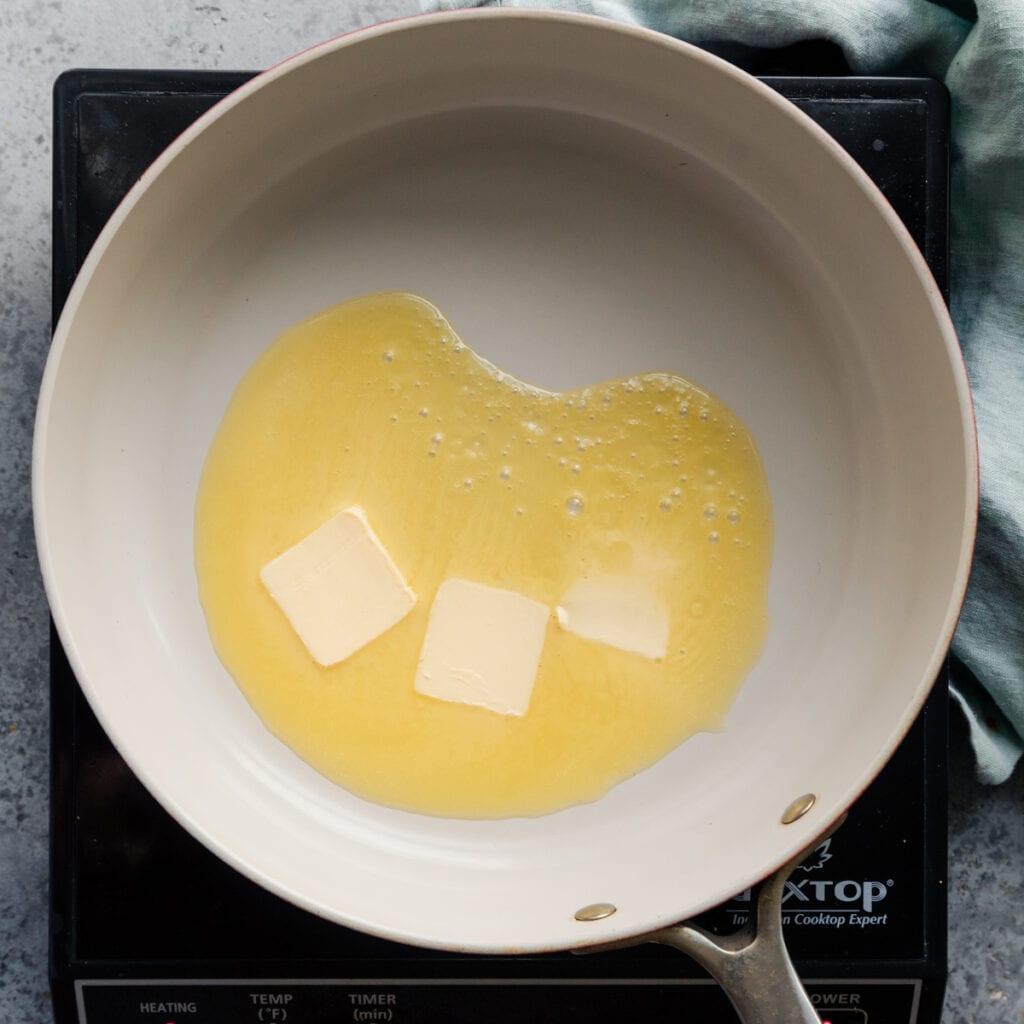 melting vegan butter in a frying pan