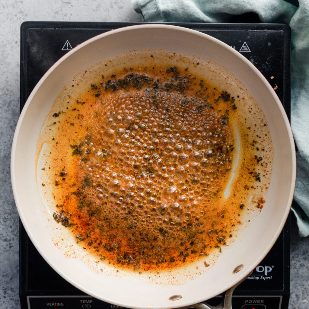 Indian spices frying in vegan butter (tadka)