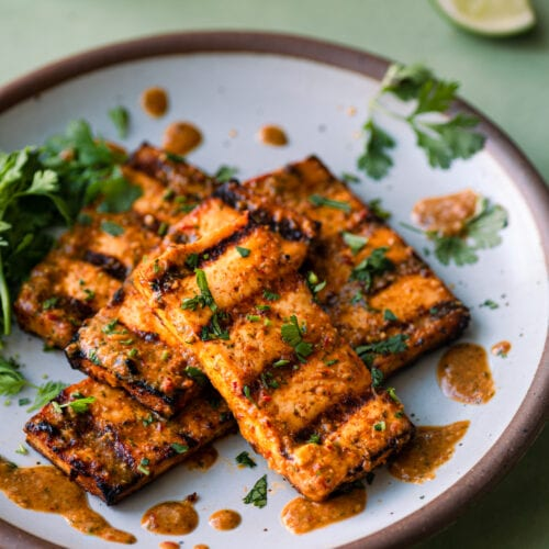 citrus-cilantro grilled tofu slabs on a white plate
