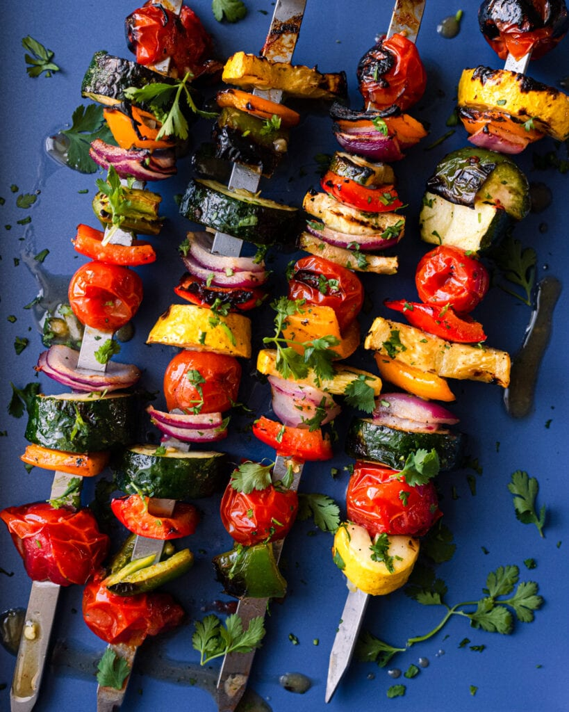 vegan grilled vegetable skewers with fresh herbs