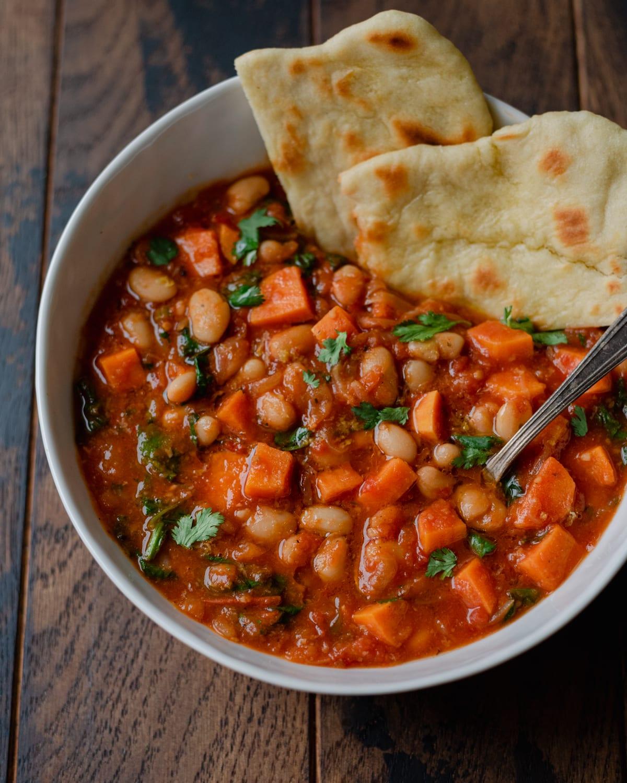 sweet potato white bean soup with flatbread