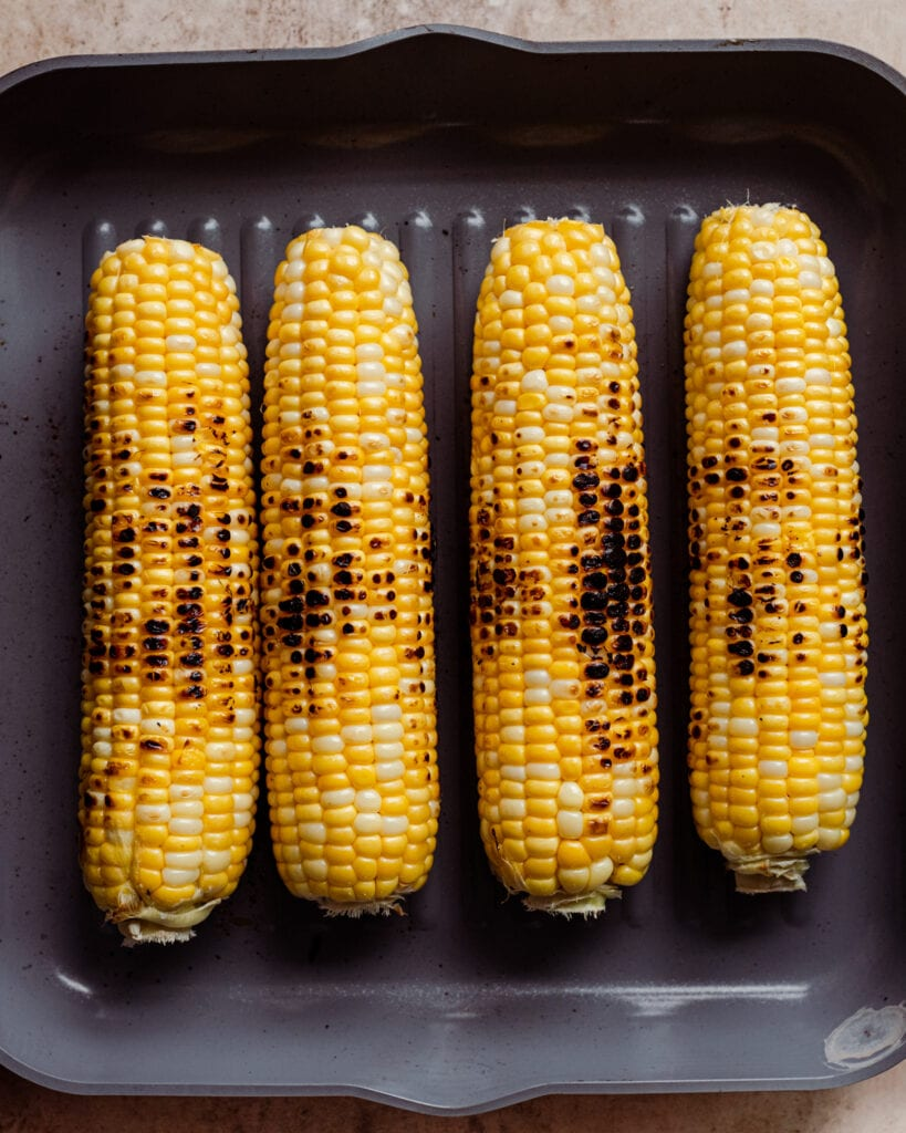 grilled corn in grill pan