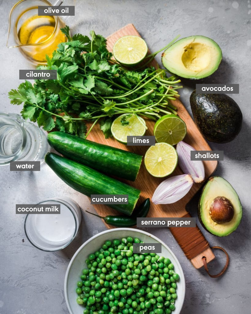overhead shot of ingredients for Avocado Gazpacho