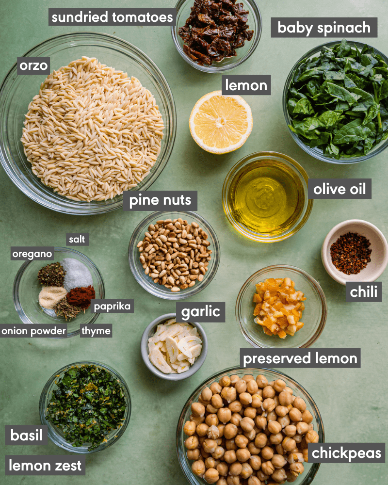 lemon orzo pasta salad - labeled ingredients in bowls