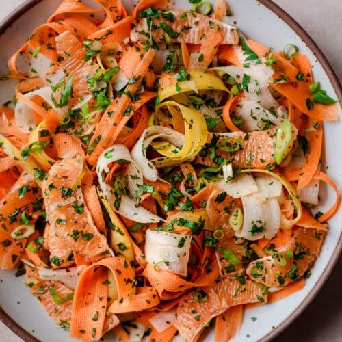 carrot ribbon salad with preserved lemon vinaigrette