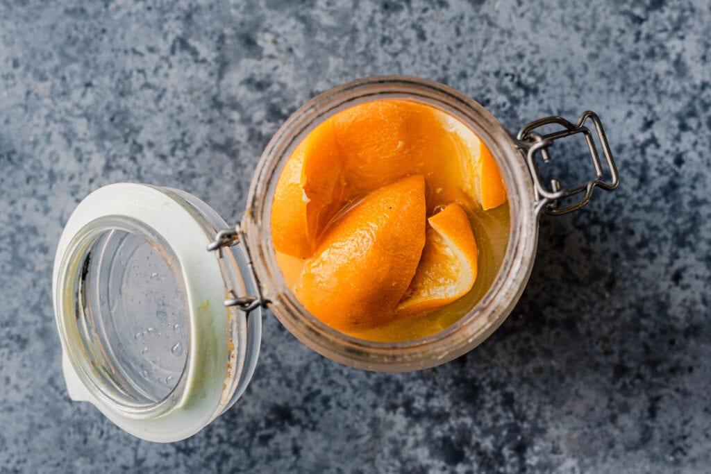 preserved lemon peels in glass jar