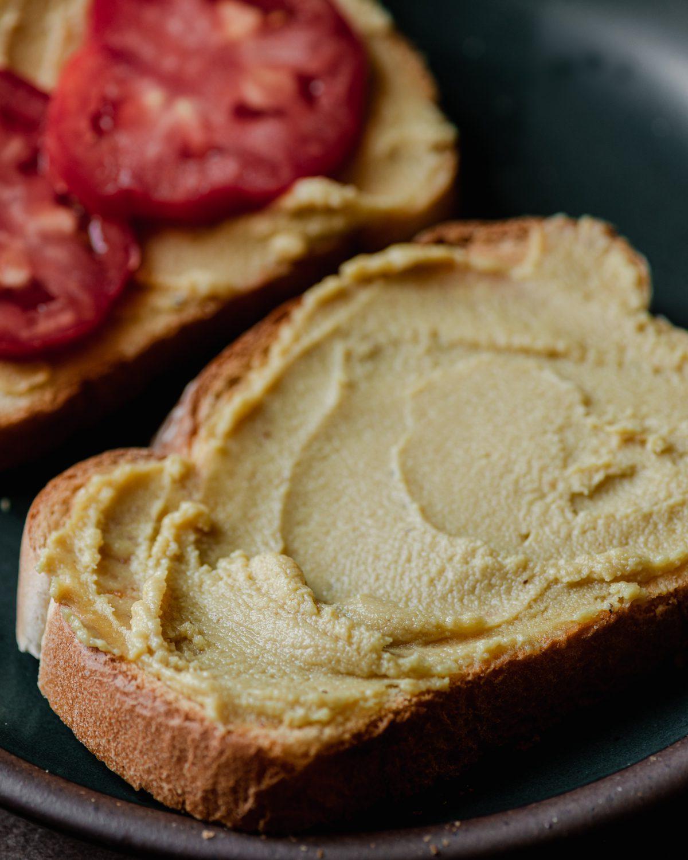 cashew cheese spread onto bread