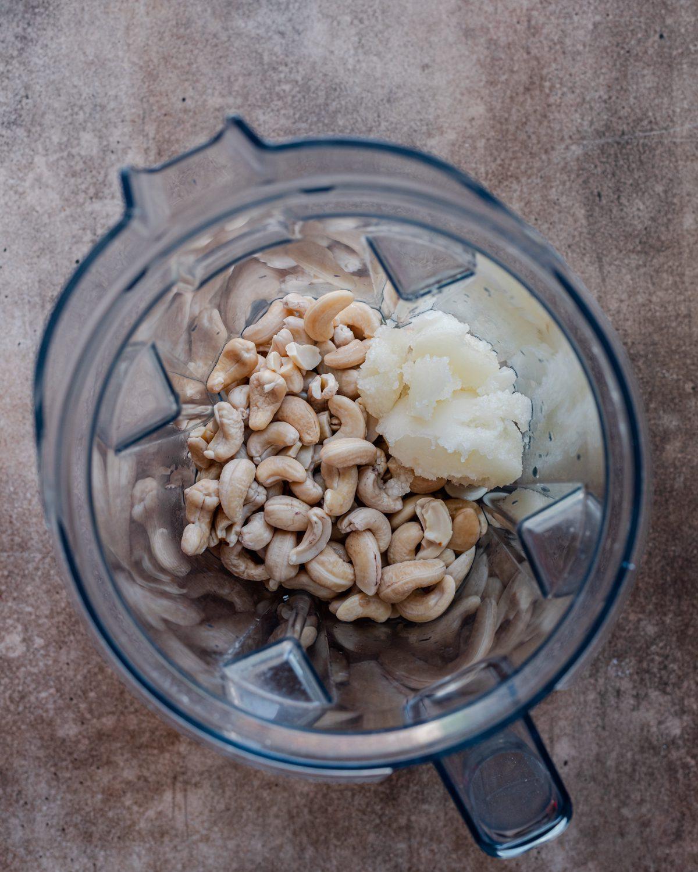fermented cashew cheese ingredients in blender