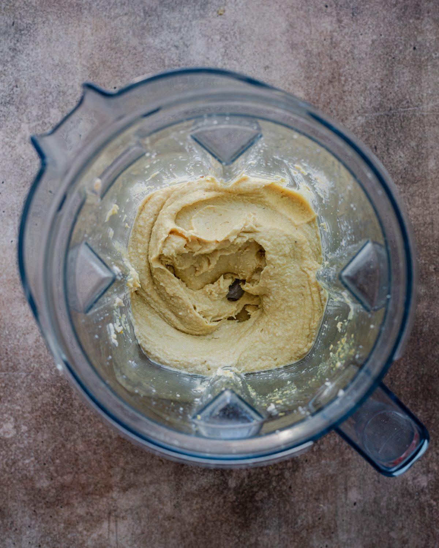 blended ingredients in blender