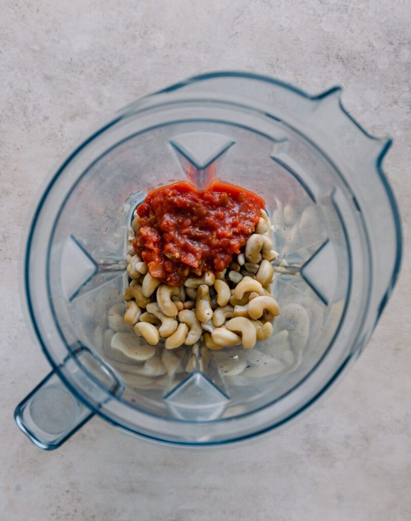cashews and salsa in a blender