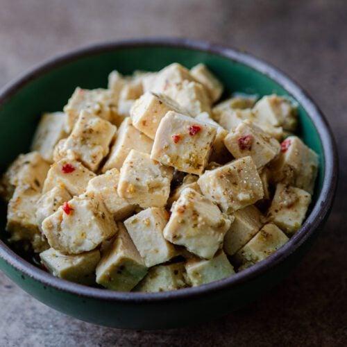 tofu feta in green bowl