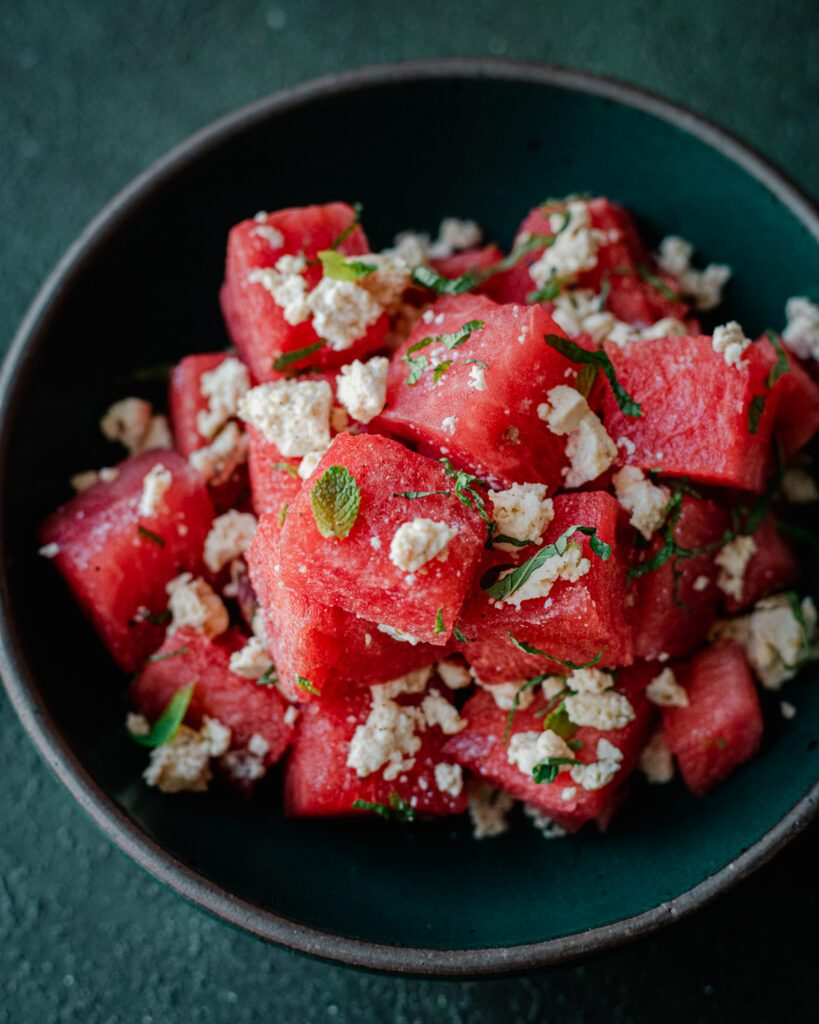 watermelon salad with vegan feta