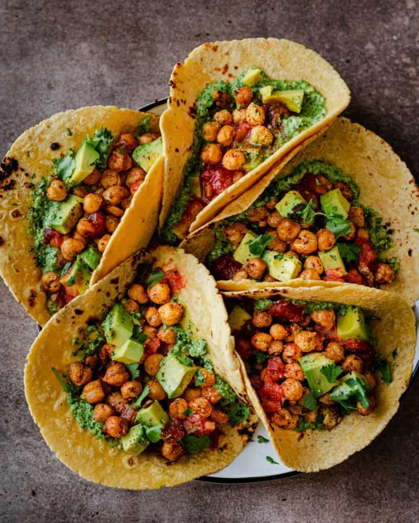 chickpea tacos with cilantro pesto