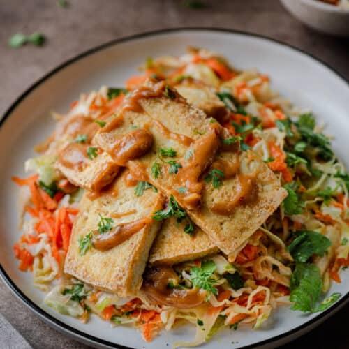 crispy tofu with peanut sauce over cabbage slaw