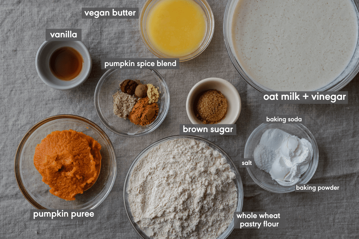 ingredients for vegan pumpkin pancakes with ingredients labeled