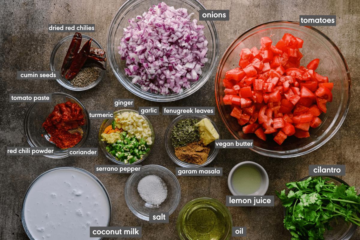 labeled ingredients for tikka masala sauce
