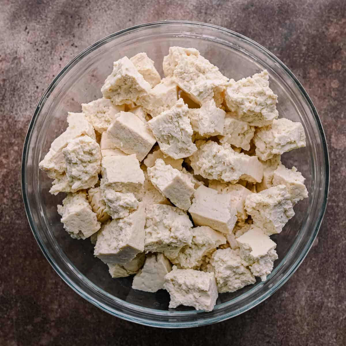 extra firm tofu chunks in a bowl